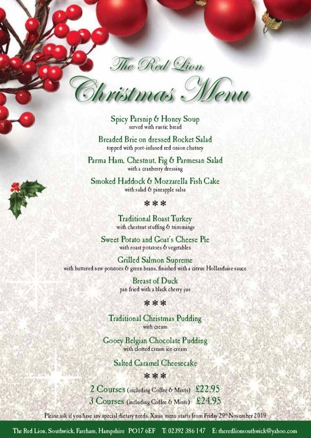 Pubs For Christmas In Swanwick - The Red Lion Is Now Taking Bookings For Their Christmas Music Nights!