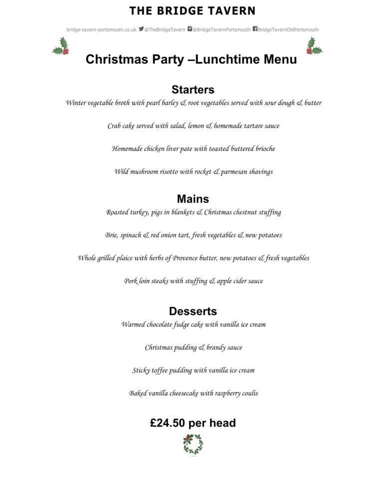 Seafood Restaurants In Southsea - The Bridge Tavern Christmas Menu