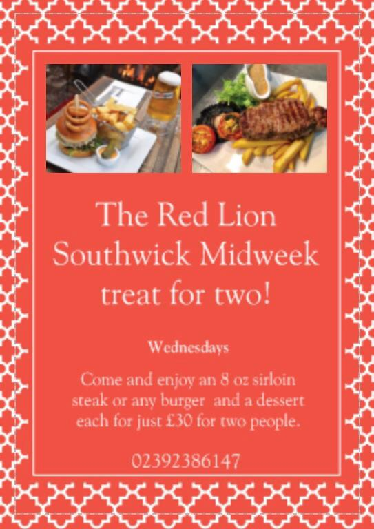 Pubs With Food In Hampshire - The Red Lion Southwick Has A Fantastic Midweek Treat For 2!