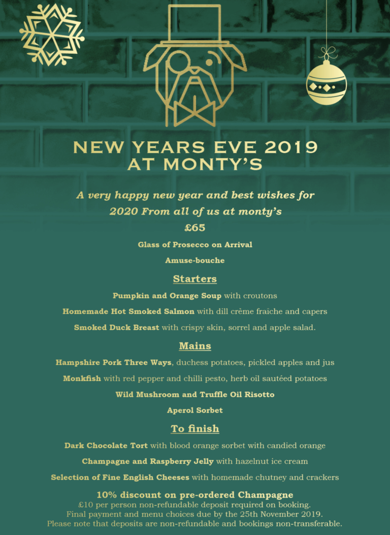 Restaurants In Southsea This Christmas – Enjoy Christmas And New Years Eve With Monty's And Celebrate In Style