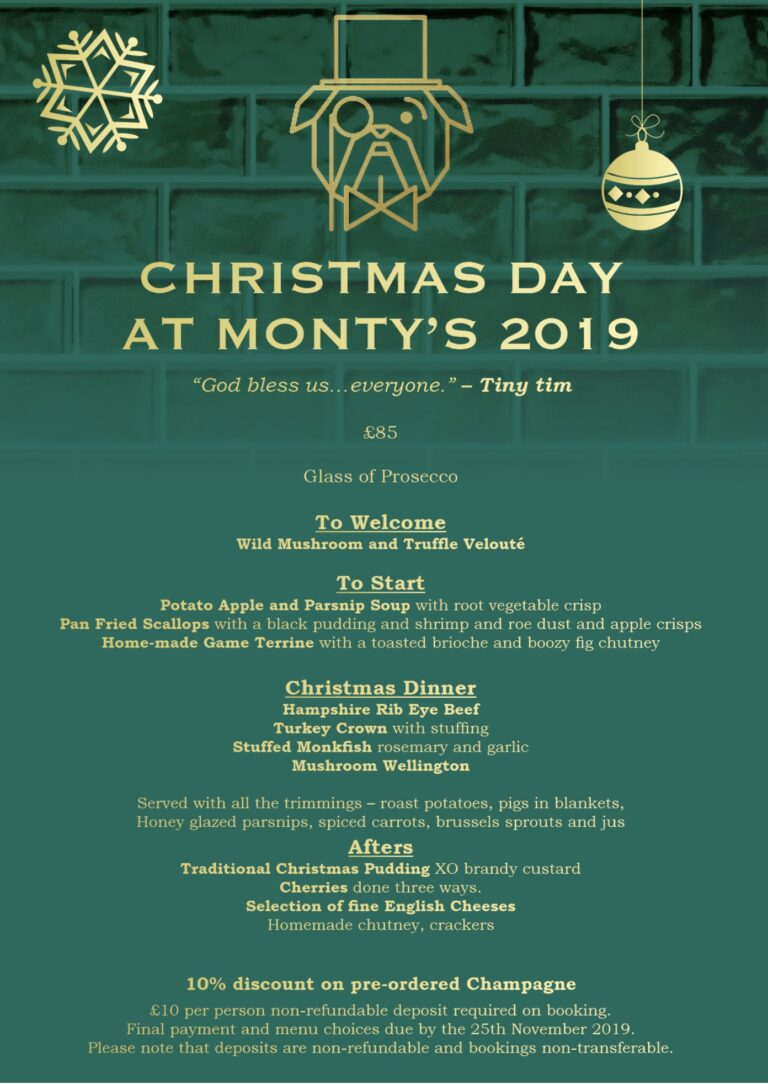 Southsea Restaurants For Christmas - Book Your Table On Christmas Day At Monty's And Celebrate In Style