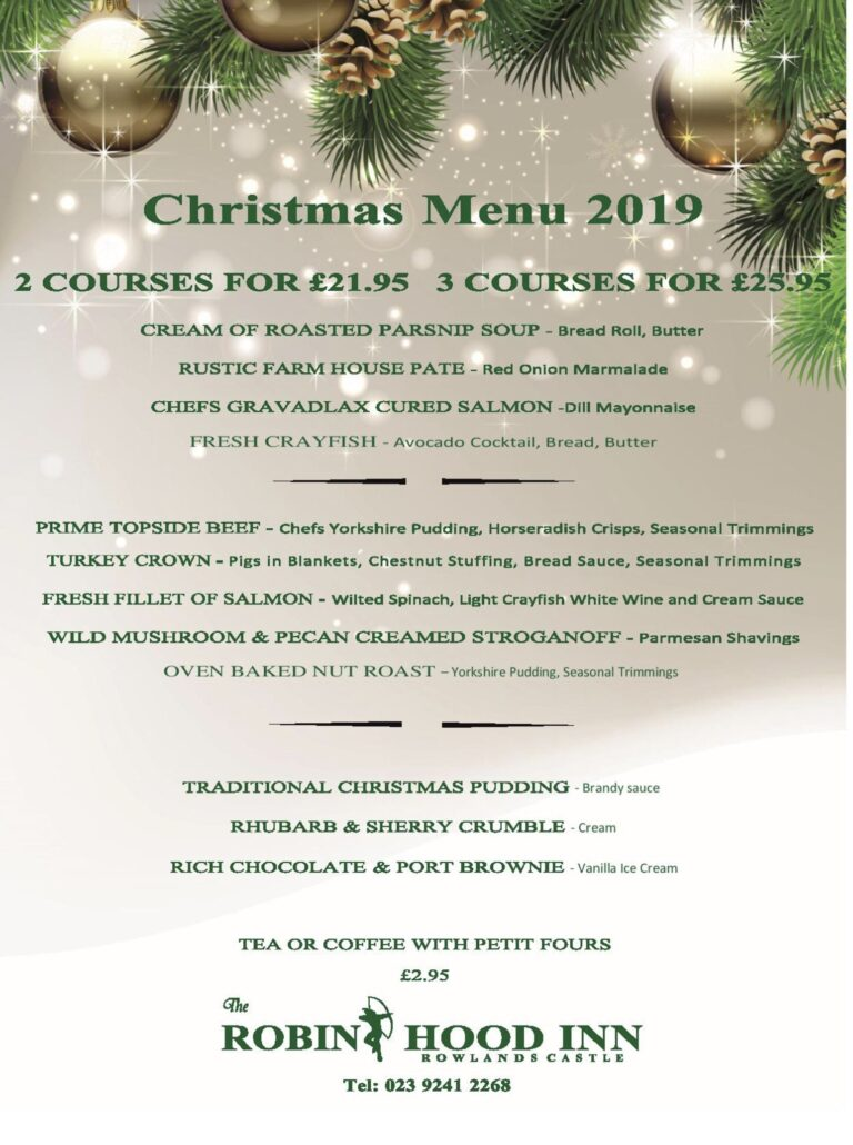 Pubs In Hampshire – Book Your Table For Christmas At The Robin Hood Rowlands Castle Today !