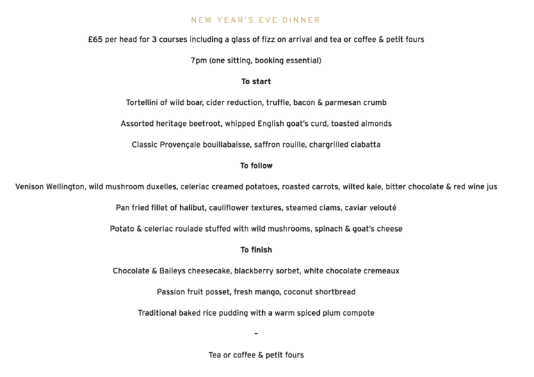 New Years Eve Celebrations in Swindon - Book Your Table At The Weighbridge Brewhouse And Enjoy A Delicious 3 Course Set Menu