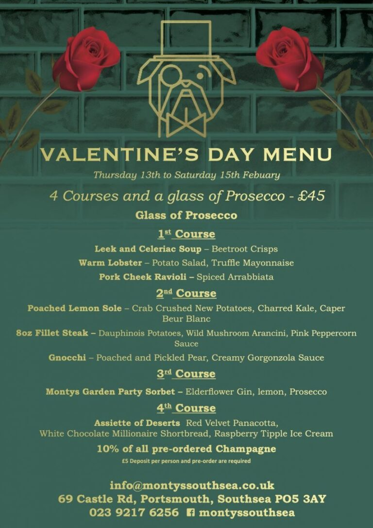 Restaurants In Southsea For Valentines Day – Join Montys This Year And Make Your Special Day One To Remember !