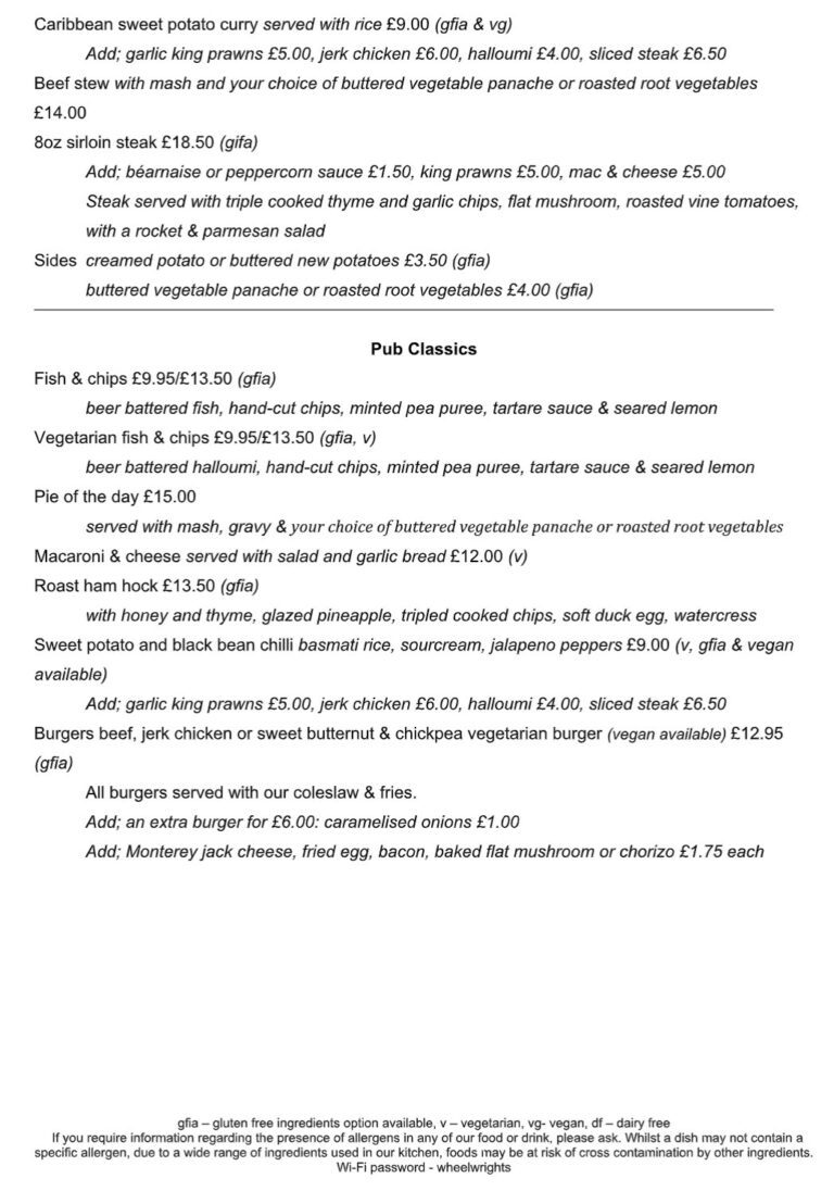 Pubs Serving Food In Havant -Enjoy Delicious Food At The Wheelwrights Arms With Their New Menu!