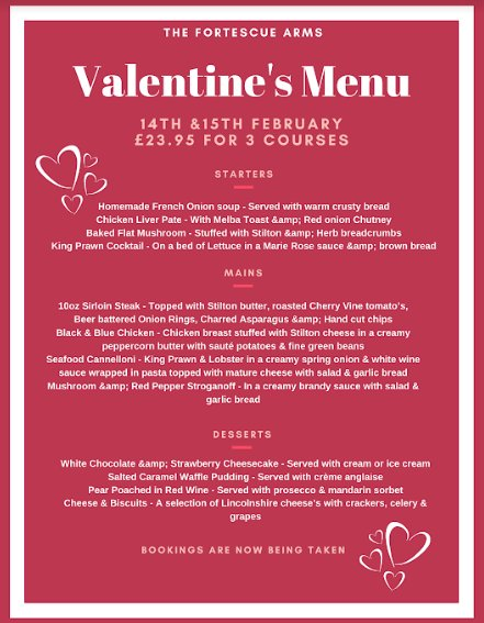 Pubs For Valentines Day In Billingborough - Book Your Table For A Romantic Meal At The Fortescue Arms !