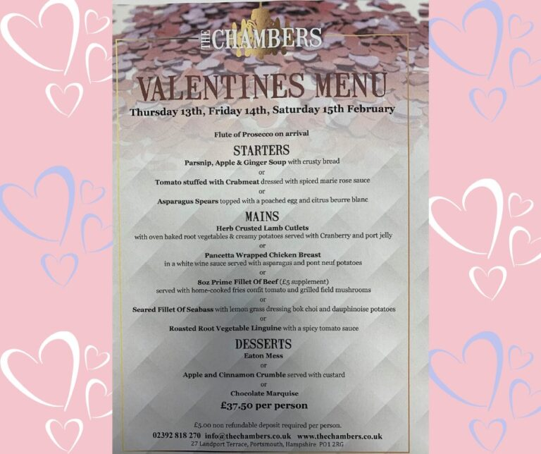 Best Portsmouth Restaurants For Valentines Day - Enjoy A Delicious Set Menu At The Chambers From 13th-15th February!