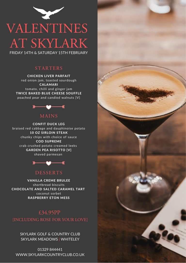 Country Clubs In Hampshire – Enjoy Valentine's Day In Style With Skylark Golf And Country Club They Have A Mouthwatering Menu ...!