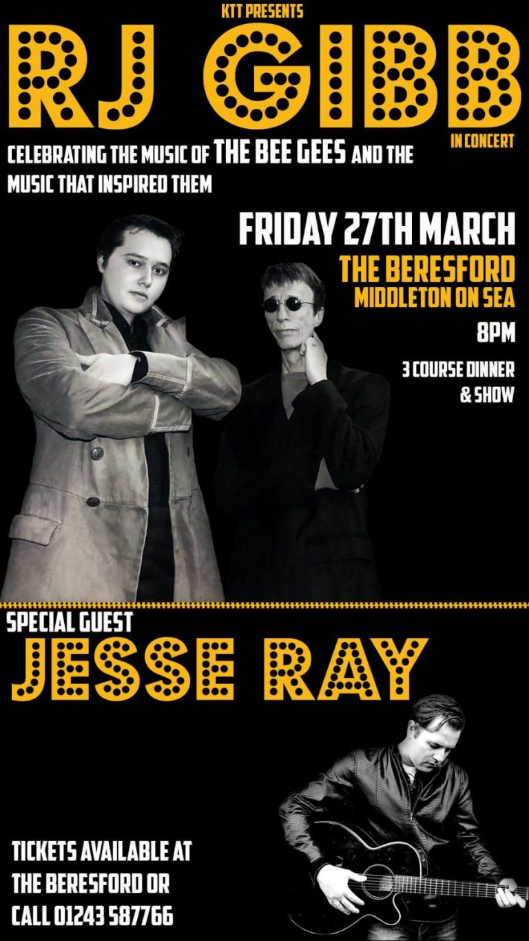 Live Music In West Sussex - Celebrate The Bee Gees At The Beresford Middleton On Sea With Love Music From RJ Gibb!
