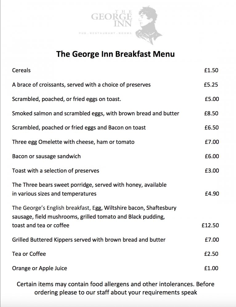 Country Pubs In Wiltshire – Join The George Inn Warminster For A Delicious Breakfast !
