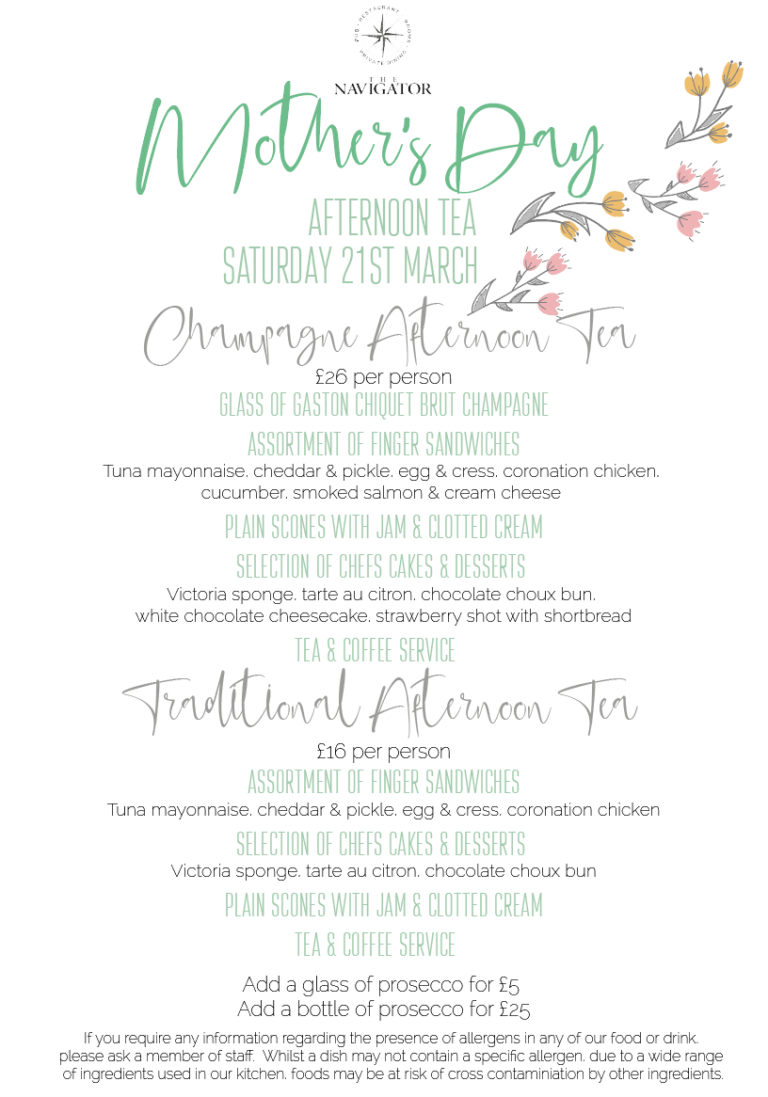 Pubs For Mothers Day In Southampton - Enjoy Afternoon Tea At The Navigator Swanwick !