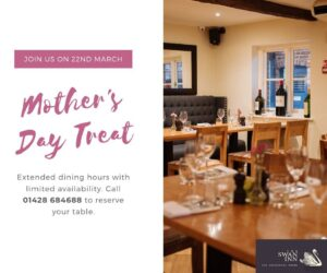 Pubs For Mothers Day In Surrey - The Swan Inn Is The Perfect Place To Spoil Your Mum !