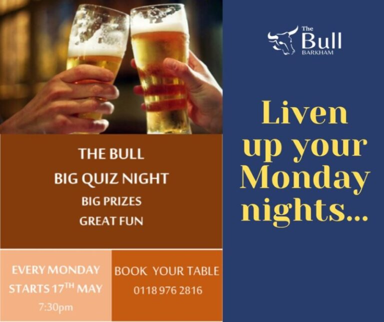 Quiz Nights In Barkham - Head to The Bull For A Fun Filled Night !
