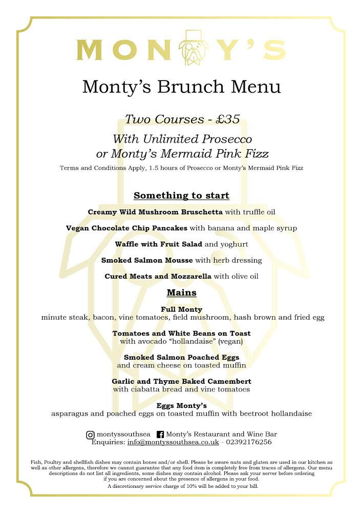 Bottomless Brunch In Portsmouth - Brighten Up Your Day At Montys !
