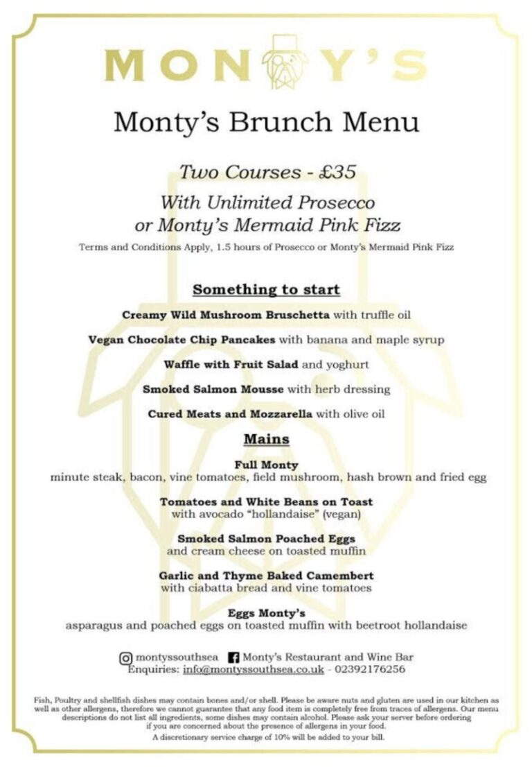 Restaurants For Brunch In Portsmouth - Indulge At Montys This Week !