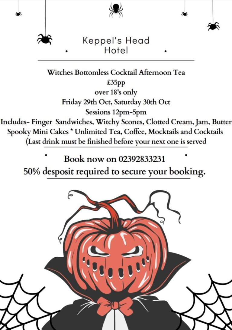 Hotels For Halloween In Portsmouth - Enjoy Witches Afternoon Tea At Keppels Head !
