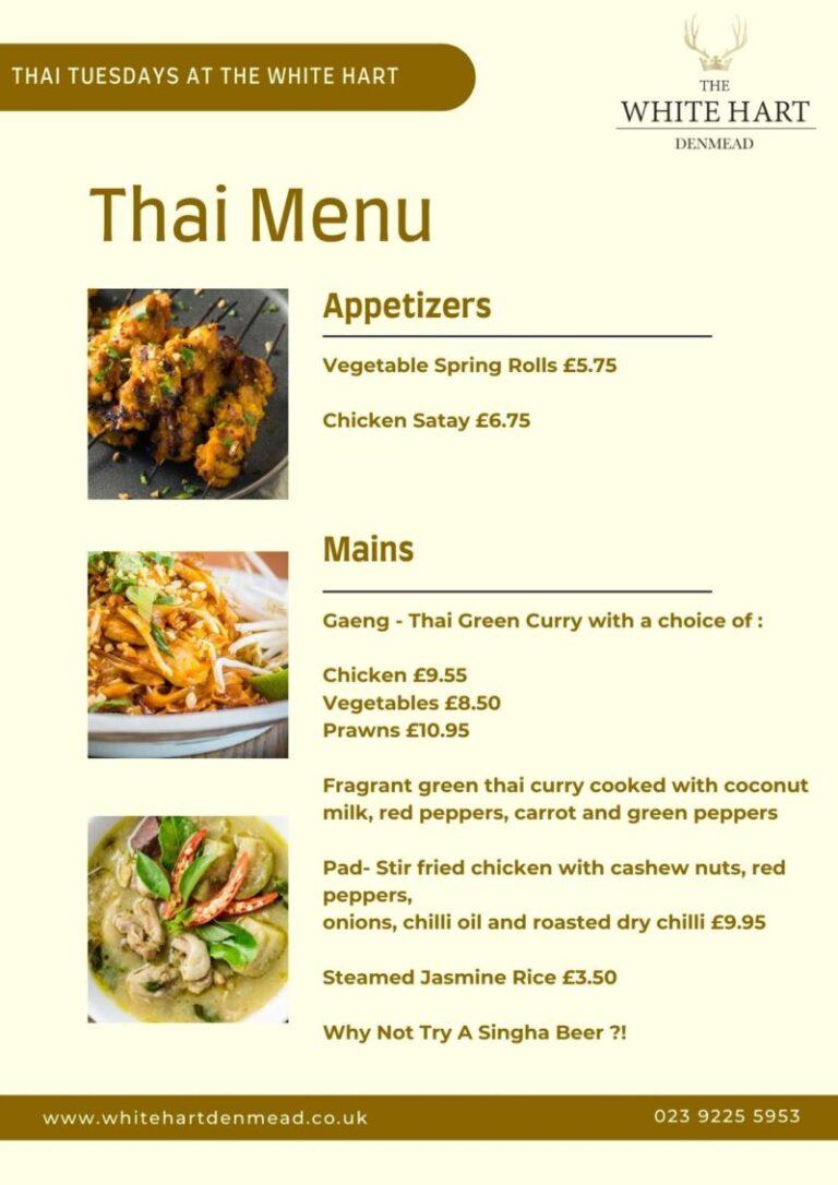 Enjoy Thai Tuesdays In Denmead - Dine At The White Hart!