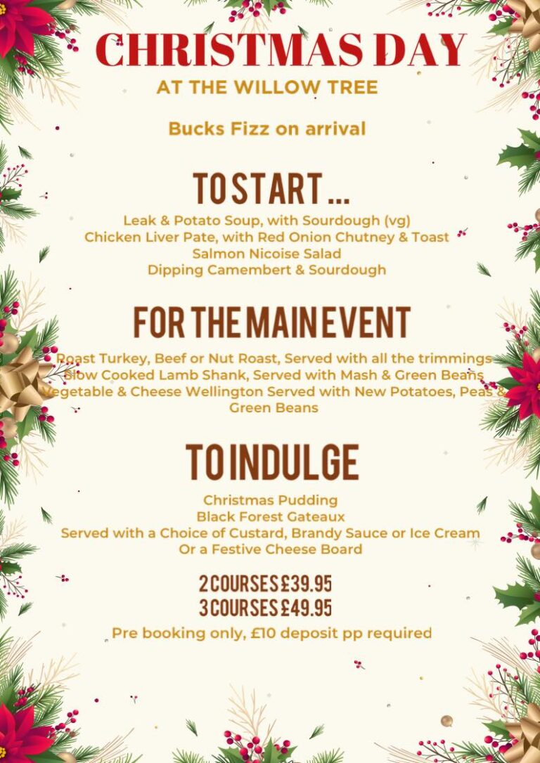 Pubs For Christmas In Winchester - Book Now At The Willow Tree!
