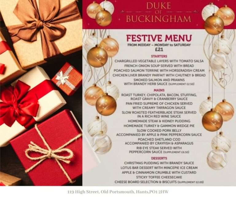 Pubs In Portsmouth For Christmas - Dine At The Duke Of Buckingham!