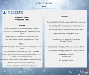Hotels For Christmas Dining In Hampshire - Celebrate At Keppels Head Hotel !