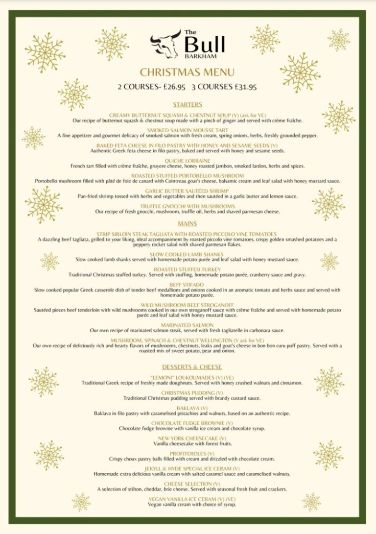 Pubs For Christmas In Barkham – Celebrate At The Bull !