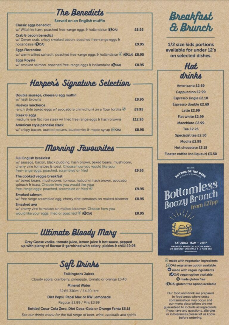Saturday Bottomless Brunch In Southampton - Enjoy Yourself At Harpers!